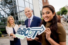 Alison Tighe, Datalex and Neha Katoch, Mastercard, both Women ReBOOT graduates, with Minister of State for Equality, David Stanton, TD at the Women ReBOOT Dublin Autumn 2017 graduation