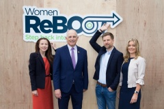 Tracey Donnery, Skillnet Ireland, Minister of State for Equality, David Stanton, TD, Gary Lawson, Mastercard and Alison Tighe, Datalex at Women ReBOOT graduation event, 12 July 2018
